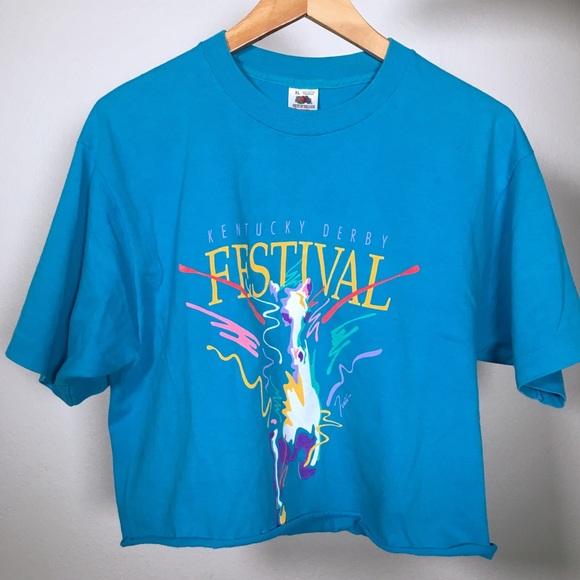 Vintage Tops - 90s 1991 kentucky derby festival crop tee t-shirt
